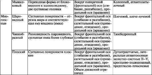 Классификация суставов и их общая характеристика в таблице как вывести жидкость из коленного сустава народными средствами