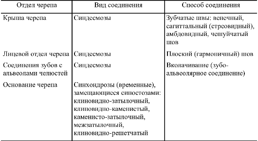 Соединения теменных костей
